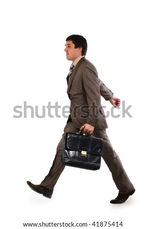 Businessman running with a briefcase isolated over white background - stock photo