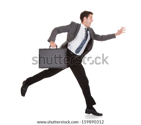 Businessman Running With Briefcase In Hand On White Background - stock photo