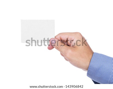 Businessman's hand holding blank paper business card, isolated on white background
