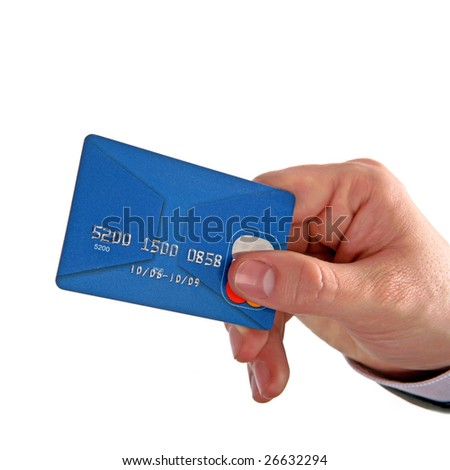 Businessman's hand holding blue credit cards 03. Isolated on white background