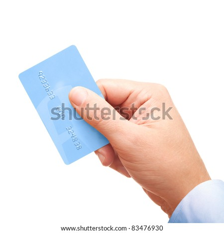 Businessman's hand holding blue plastic credit card