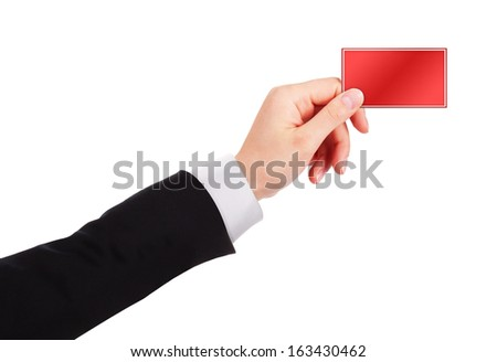 Businessman's hand holding business card isolated on white background - stock photo