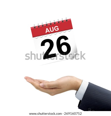 businessman's hand holding calendar over white background - stock photo