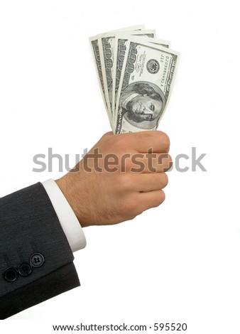 Businessman's Hand Holding Money - stock photo
