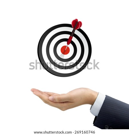 businessman's hand holding target button over white background - stock photo