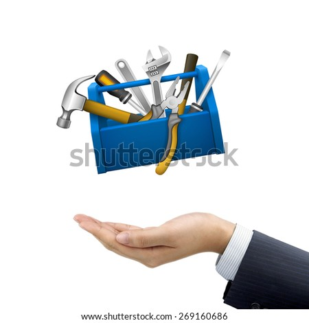 businessman's hand holding tools box over white background