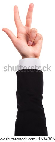 Businessman's hand is showing three fingers isolated - stock photo