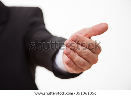 Businessman's hand showing a invocatory gesture, white background - stock photo