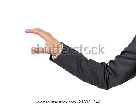 Businessman's hand to hold invisible card, isolated on white