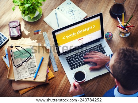 Businessman's Place of Work with Laptop on Wood Table  - stock photo