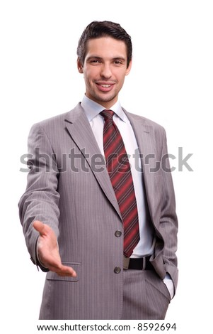 Businessman saying welcome - stock photo