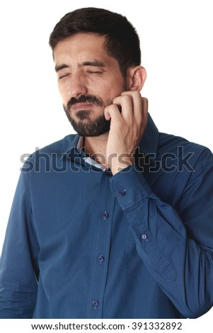 Businessman scratching his beard on white background - stock photo