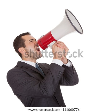 Businessman screaming in megaphone. Isolated on white - stock photo