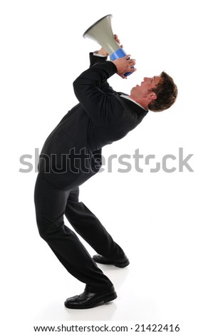 Businessman screaming on a megaphone isolated against a white background - stock photo