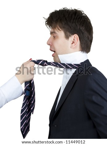 businessman screaming while a girl pulling his tie - stock photo