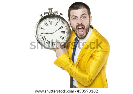 businessman screaming with anger at latecomers