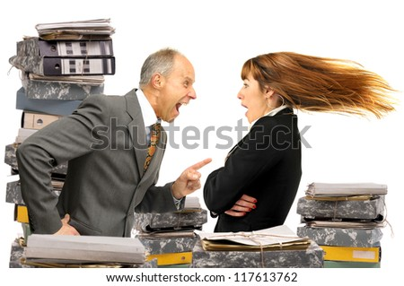 Businessman screaming with employee - stock photo