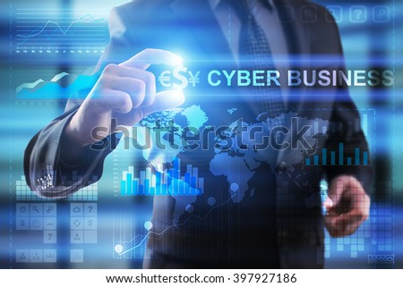 Businessman select cyber business on virtual screen.