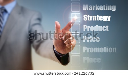 Businessman selecting marketing mix strategy options for product, price, promotion, place and brand - stock photo