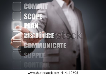 Businessman selecting project management stage options for planning and strategy - stock photo