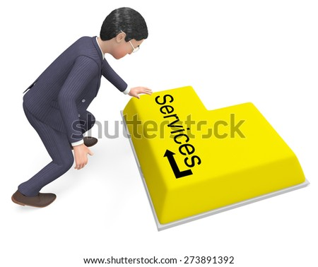 Businessman Selecting Services Meaning Help Desk And Corporation - stock photo