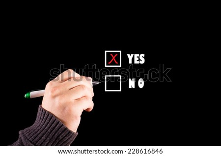 Businessman selects yes checkbox