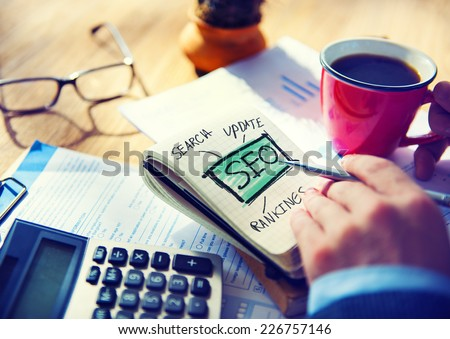 Businessman SEO Marketing Strategy Working Concept - stock photo
