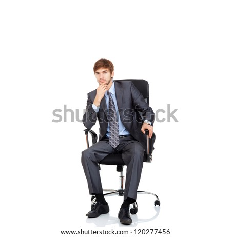 businessman serious think siitng in cahir hold hand on chin, business man thinking wear elegant suit and tie isolated over white background - stock photo