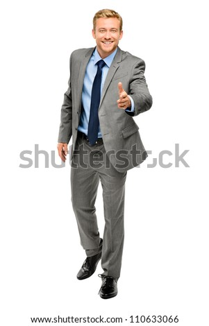 Businessman shaking hands isolated on white - stock photo
