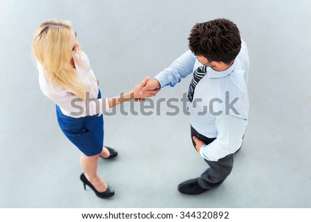 Businessman shaking hands with a businesswoman  - stock photo