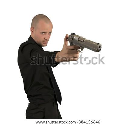 Businessman shooting isolated - stock photo