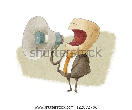 businessman shouting into megaphone - stock photo