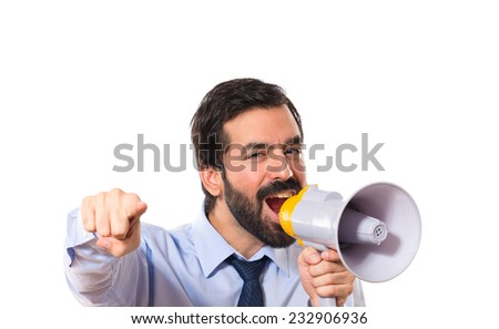 Businessman shouting over white background