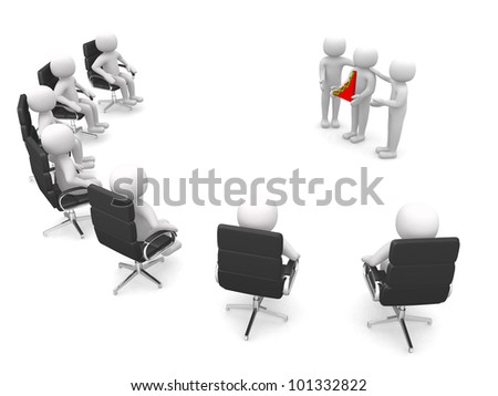 businessman show and hold a graph list - 3d render - stock photo
