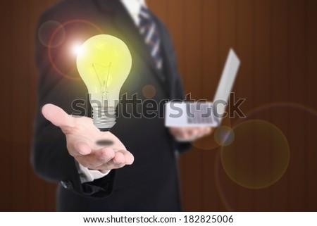 Businessman show his idea to customer - stock photo