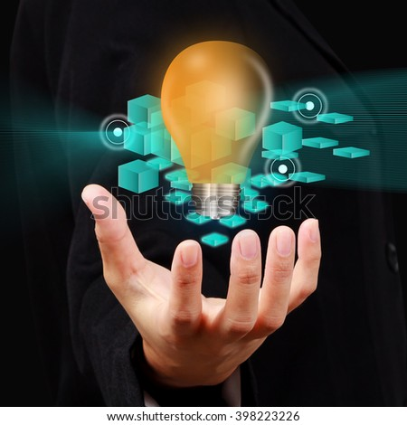 Businessman show innovation concept on virtual screen.