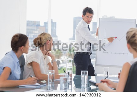 Businessman showing a growing chart during a meeting - stock photo