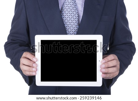 Businessman showing a laptop screen - isolated over a white background - stock photo