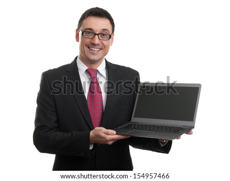 businessman showing a laptop with blank screen