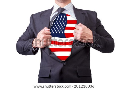 businessman showing a super hero suit america underneath his suit on white background  - stock photo