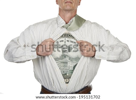 Businessman showing a superhero fifty dollar bill suit underneath his shirt, clipping path for blank t-shirt - stock photo