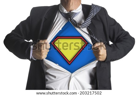 Businessman showing a superhero suit underneath his suit, isolated on white background - stock photo