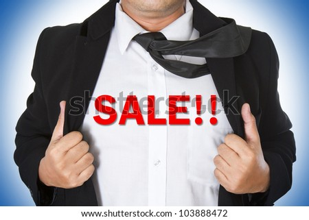 Businessman showing a word underneath his suit - stock photo