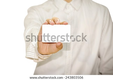 businessman showing blank business card. - stock photo