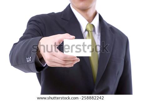 Businessman showing blank namecard  - stock photo