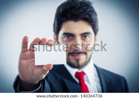 businessman showing business card copy space - stock photo