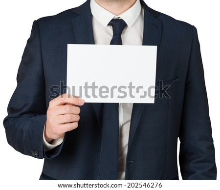 Businessman showing card to camera on white background