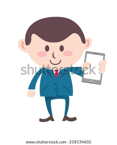 businessman showing cell phone - stock photo