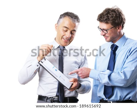 Businessman showing documents to his collegue and discussing on white background. - stock photo