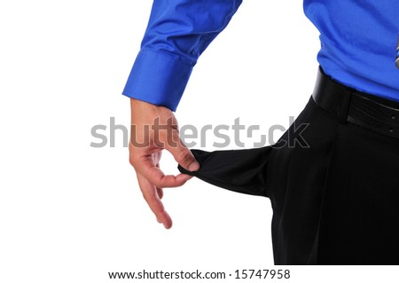 Businessman showing empty pocket as a symbolism isolated on white